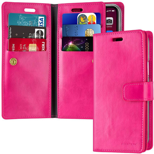 Hot Pink iPhone 12 Pro Max Mercury Mansoor Wallet Diary Case Cover - 1