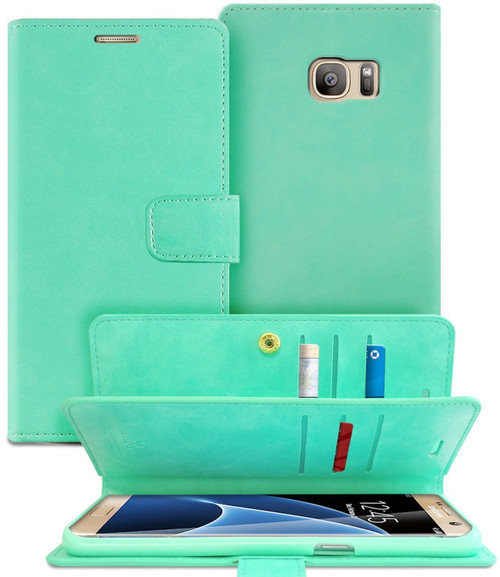 Mint Green Galaxy S7 Edge Genuine Mercury Mansoor Diary Wallet Case - 1