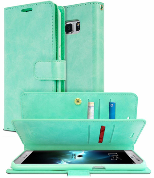 Galaxy S8 Genuine Mercury Mansoor Diary Wallet Case - Mint Green - 1