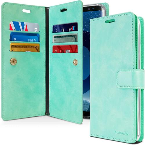 Mint Green Galaxy S9 + Plus Mercury Mansoor Diary Wallet Case - 1