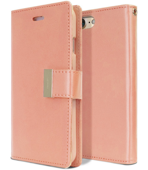 Stylish Rose Gold iPhone 7 / 8 Genuine Mercury Rich Diary Wallet Case - 1