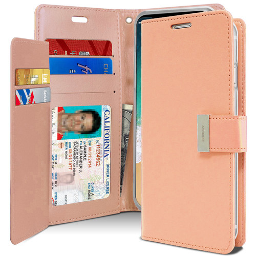Rose Gold iPhone X / XS Mercury Rich Diary Premium Wallet Case - 1