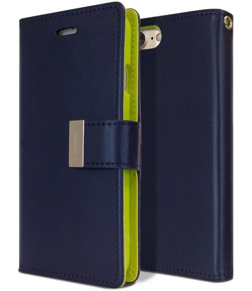 Navy iPhone 7 Plus / 8 Plus Mercury Rich Diary 6 Card Slot Wallet Case - 1