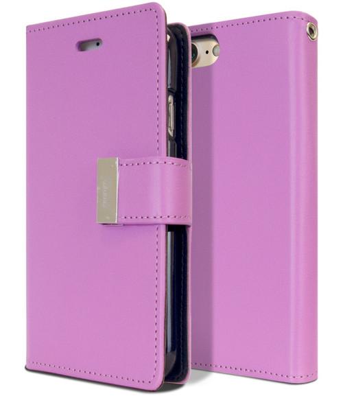 Stylish Purple iPhone 7 Plus / 8 Plus Mercury Rich Diary Wallet Case - 1