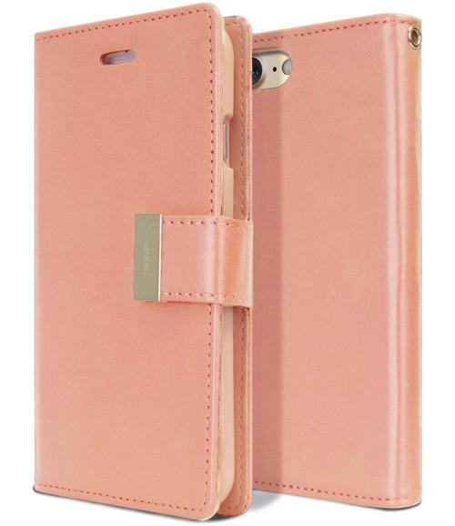 Rose Gold Mercury Rich Diary Wallet Case For iPhone 7 Plus / 8 Plus - 1