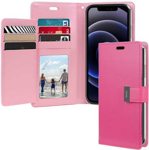 """Hot Pink iPhone 12 / 12 Pro 6.1"""" Mercury Rich Diary Wallet Case Cover - 1"""
