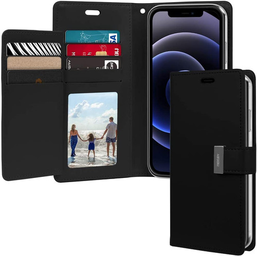 "Black iPhone 12 Pro Max 6.7"" Mercury Rich Diary Wallet Case Cover - 1"