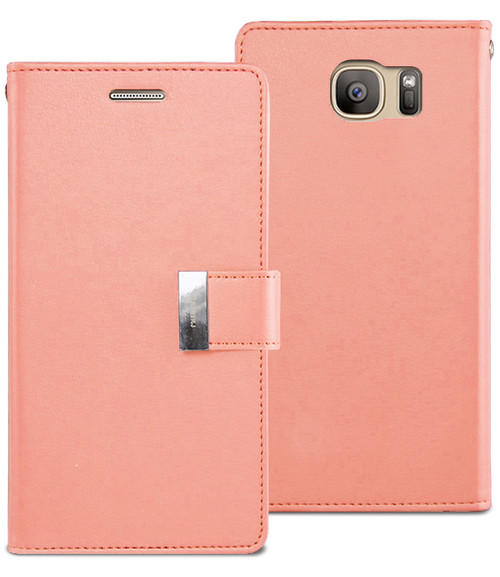 Rose Gold Genuine Mercury Rich Diary Stylish Wallet Case For Galaxy S7 - 1