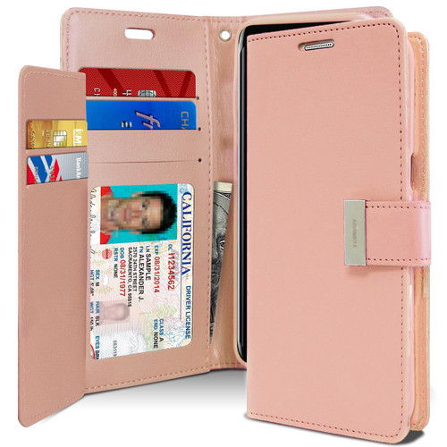 Premium Rose Gold Galaxy S8 Genuine Mercury Rich Diary Wallet Case - 1