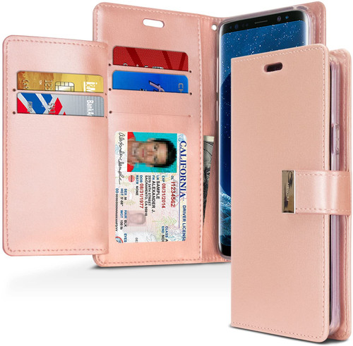 Rose Gold Genuine Mercury Rich Diary Quality Wallet Case For Galaxy S9 - 1