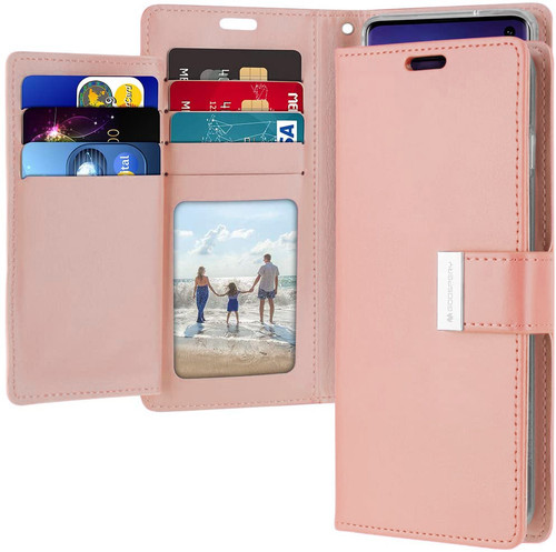 Rose Gold Samsung Galaxy S10 Genuine Mercury Rich Diary Wallet Case - 1