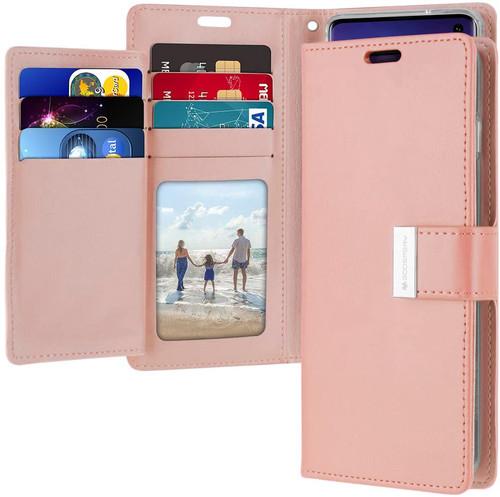 Rose Gold Galaxy S10+ Plus Genuine Mercury Rich Diary Wallet Case - 1