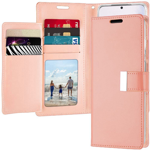 Shiny Rose Gold Galaxy S20 Ultra Genuine Rich Diary Wallet Card Case - 1