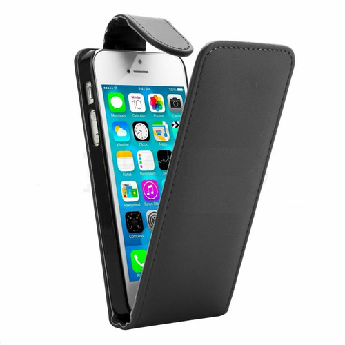 Black Apple iPhone 4 / 4S Synthetic Leather Vertical Flip Case Cover - 1