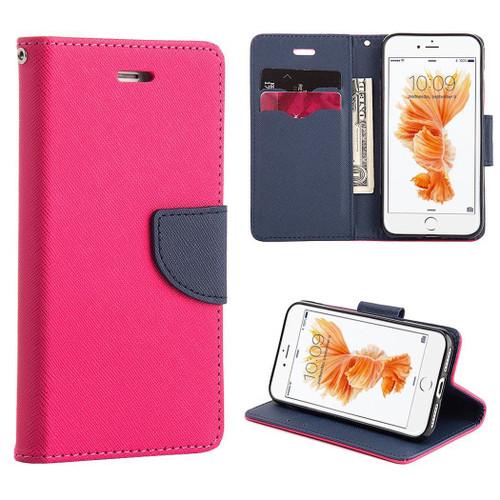 Hot Pink / Navy  iPhone 4 / 4S Mercury  Goospery Fancy Diary Wallet Case