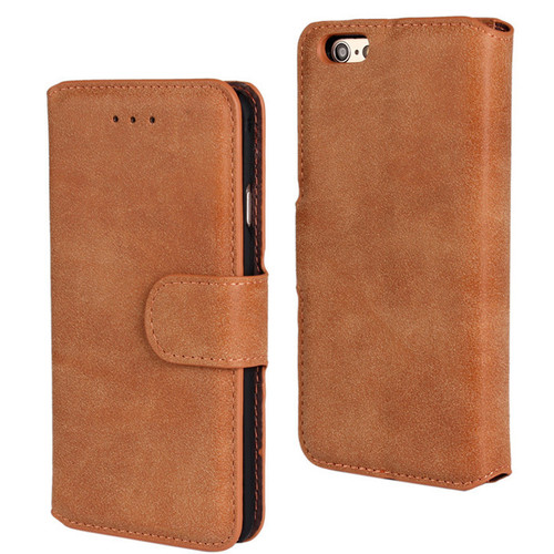 Brown Luxury Retro Vintage Matte Wallet for iPhone 5 / 5S / SE 1st Gen - 1