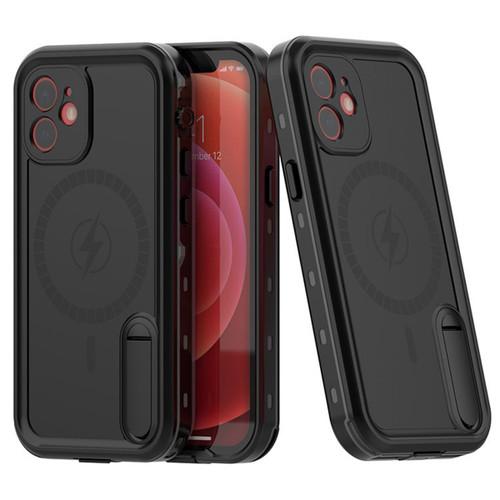 Black iPhone 12 Waterproof MagSafe Dirtproof Shock Proof Case - 1