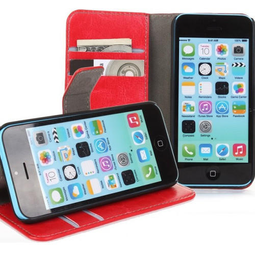 Red Apple iPhone 5C Premium Textured Leather Wallet Stand Case - 1