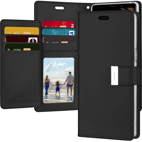 Black Galaxy Note 9 Genuine Rich Diary Wallet Card Case Cover - 1