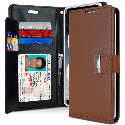 Brown Galaxy Note 9 Genuine Rich Diary Wallet Card Case Cover - 1