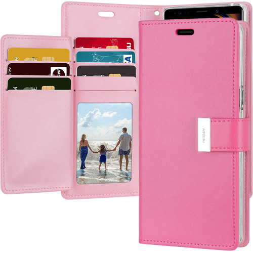 Stylish Hot Pink Galaxy Note 9 Genuine Rich Diary Wallet Card Slot Case - 1
