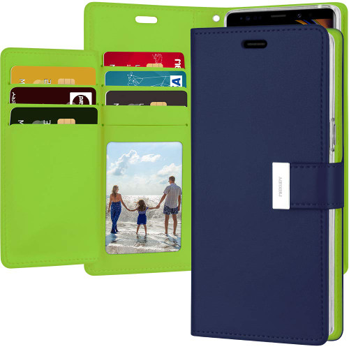 Premium Navy Galaxy Note 9 Genuine Rich Diary Wallet Card Slot Case - 1