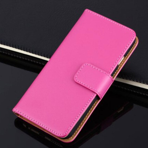 Hot Pink Apple iPhone 6 / 6S Genuine Leather Wallet Case - 1