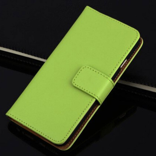 Green Apple iPhone 6 / 6S Genuine Leather Wallet Case - 1