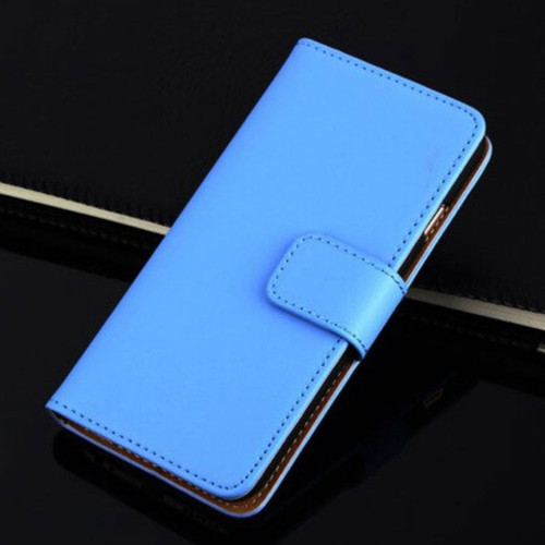 Sky Blue Apple iPhone 6 / 6S Genuine Leather Wallet Case - 1
