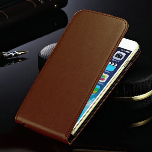Brown Genuine Leather Flip Case For Apple iPhone 6 / 6S Phone Cover - 1