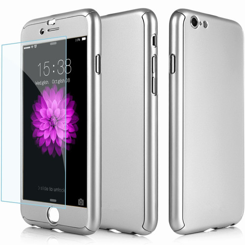 Silver iPhone 7 / 8 Full Body Armor 360 Protect Case + Tempered Glass