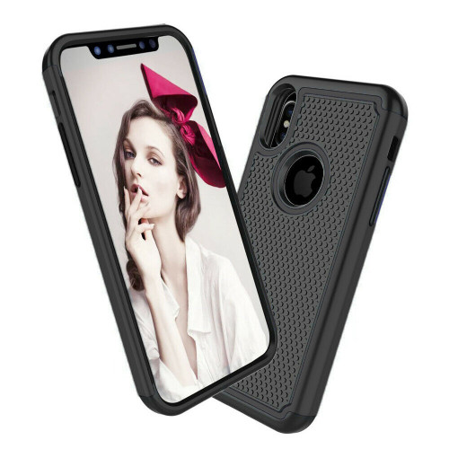 Black Heavy Duty Dual Layer Shock Proof Case For Apple iPhone X / XS - 1