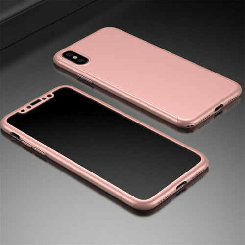 Rose Gold iPhone X / XS 360 Full Body Protection Case + Tempered Glass - 1