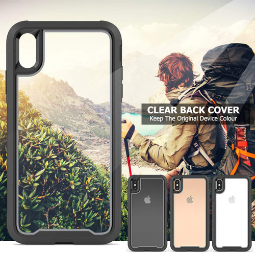 Black Clear Acrylic Heavy Duty Defender Case For iPhone XR - 1