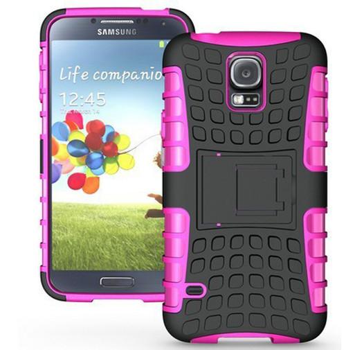 Hot Pink Heavy Duty Hybrid Kickstand  Case for Samsung Galaxy S5 - 1