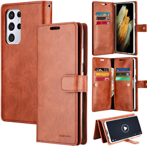 Brown Galaxy S21 Ultra Genuine Mercury Mansoor Wallet Card Case - 1