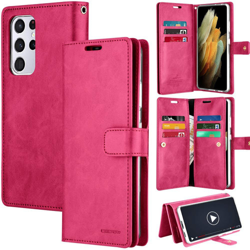 Hot Pink Galaxy S21 Ultra Mercury Mansoor 9 Card Slots Wallet Case - 1