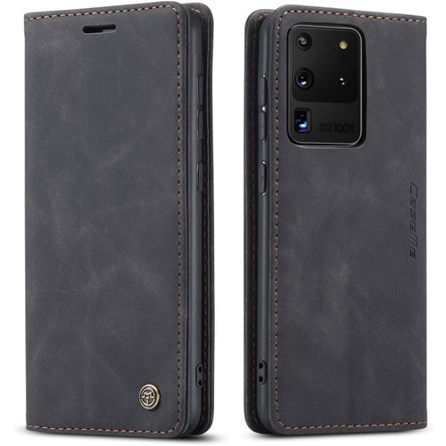 Black Galaxy S20 Ultra CaseMe Wallet Classic Magnetic Handmade Case - 1