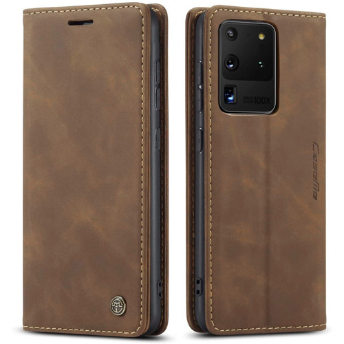 Brown Galaxy S20 Ultra CaseMe Wallet Vintage Retro Magnetic Case - 1