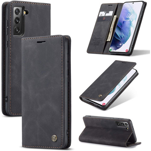 CaseMe Compact PU Leather Wallet Case for Galaxy S21 4G/5G - Black - 1