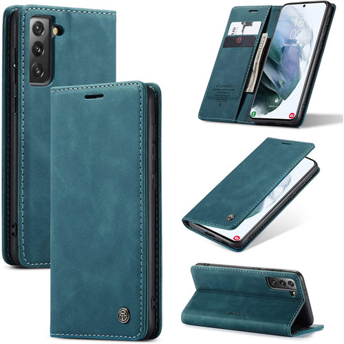 CaseMe Samsung Galaxy S21 4G/5G Classic Folio PU Leather Case - Blue - 1
