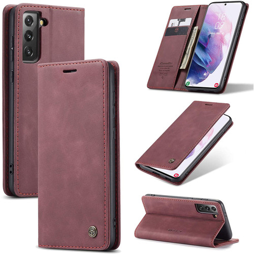 Red Wine CaseMe Slim Magnetic Wallet Case For Galaxy S21+ Plus 5G - 1