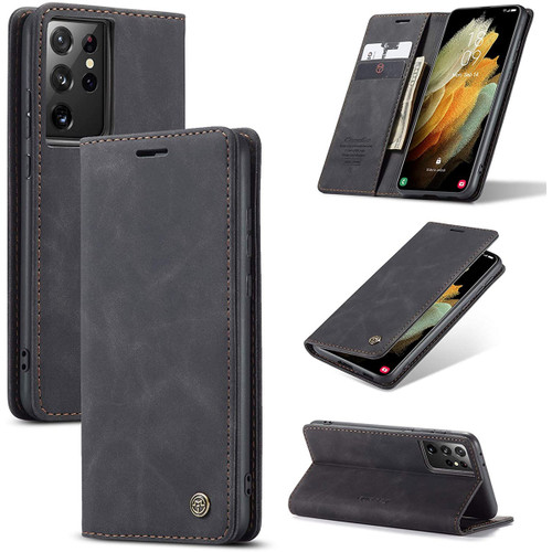 Black Galaxy S21 Ultra 5G CaseMe Compact Magnetic Wallet Stand Case - 1