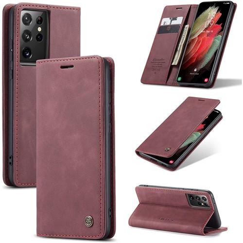 Wine Galaxy S21 Ultra 5G CaseMe Slim Magnetic Compact Wallet Case - 1