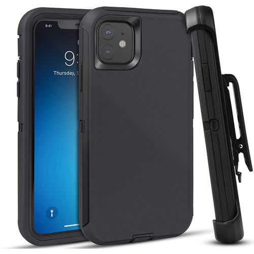 Apple iPhone 11 Shock Proof Heavy Duty Military Holster Belt Clip Case - 1