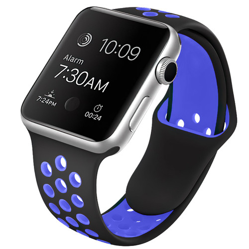 Black / Blue Apple Watch 1/2/3/4/5/6/SE (38mm, 40mm) S/M Sports Loop Band - 1