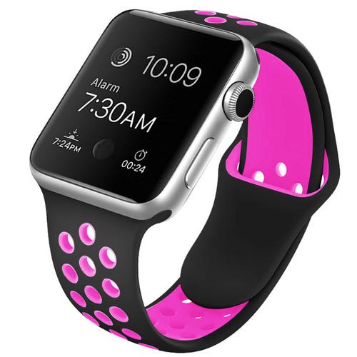 Black / Rose Apple Watch 1/2/3/4/5/6/SE (38mm, 40mm) M/L Sports Loop Band