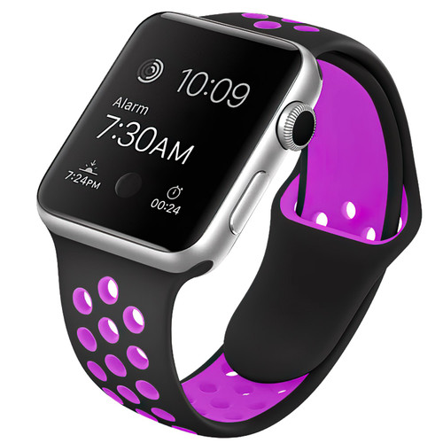 Black / Purple M/L Sports Band For Apple Watch (42mm, 44mm) 1/2/3/4/5/6/SE - 1