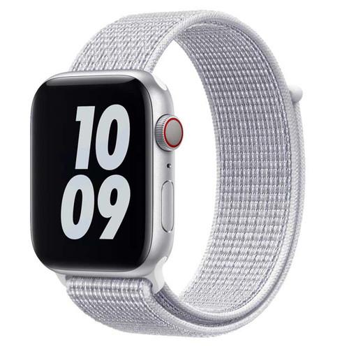 White Woven Nylon Sports Velcro Strap For Apple Watch (38mm, 40mm)