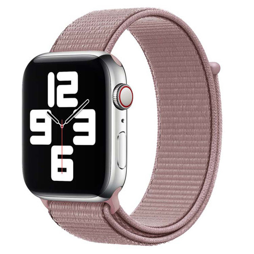 Pink Woven Nylon Sports Band For Apple Watch (38mm, 40mm) 1/2/3/4/5/6/SE
